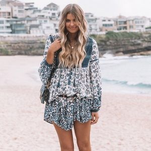 Spell Elle Boho Indigo Mini Dress NWT S